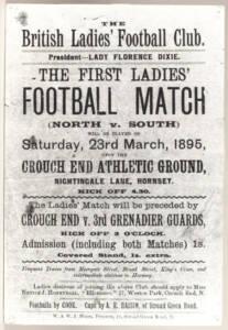 la locandina del primo incontro di calcio femminile in Inghilterra